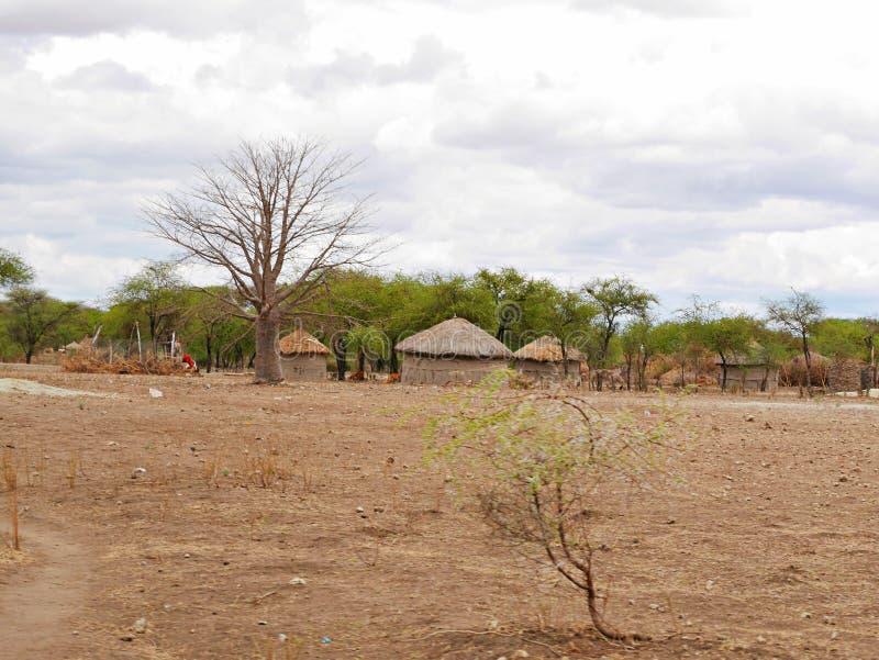 The village of the Masses in Tanzania. Cloudy sky in Tanzania, Africa, to meet adventures, safaris, Tarangiri, Ngorongoro, the village of the Masses in Tanzania stock photography