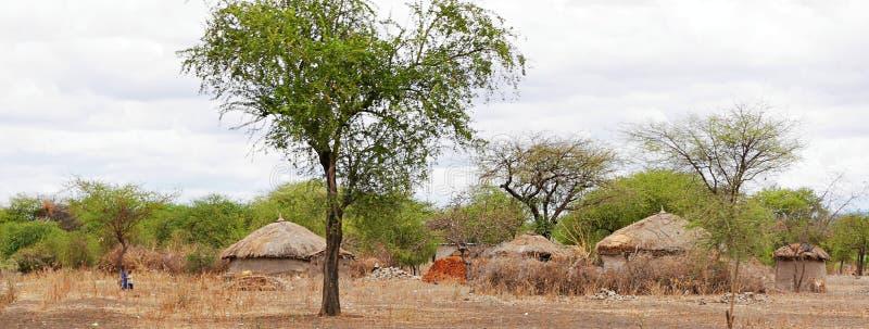 The village of the Masses in Tanzania. Cloudy sky in Tanzania, Africa, to meet adventures, safaris, Tarangiri, Ngorongoro, the village of the Masses in Tanzania stock photo
