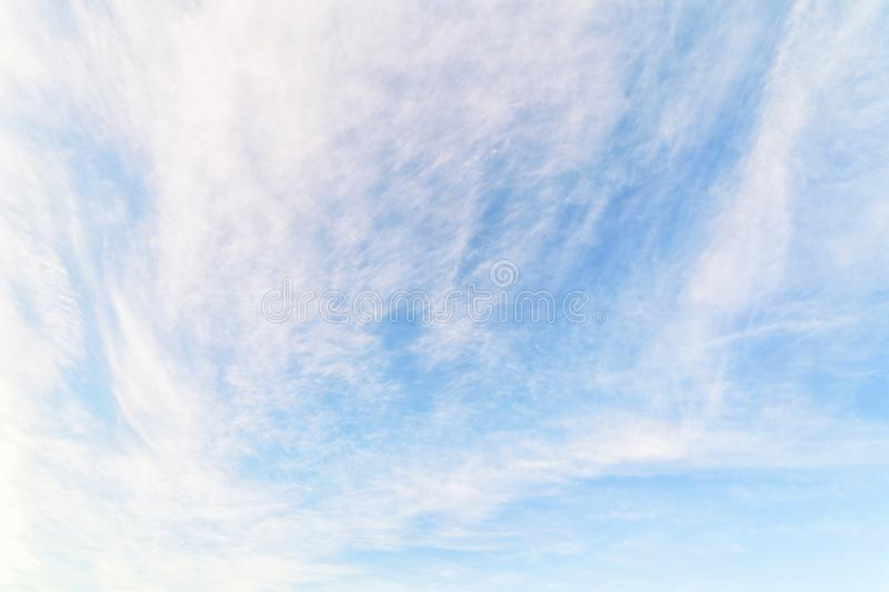 Cloudy sky texture and background. Light cloudy sky. Cloudscape at sunny day for natural background stock photography