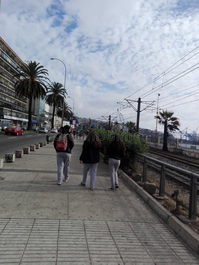 Cloudy sky of Valparaiso, Chile royalty free stock images