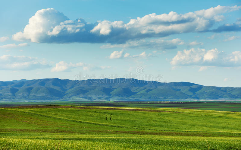 Cloudy spring landscape royalty free stock photography