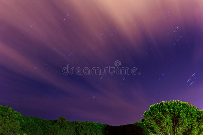 Cloudy Startrail. Long exposure of a sky in a forest, showing the trails of the stars and some clouds passing on royalty free stock image
