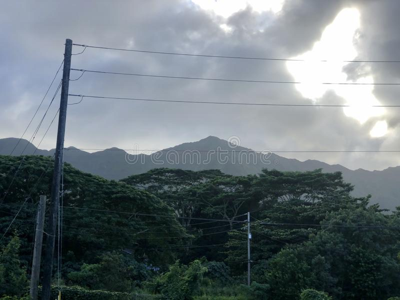 Cloudy but still beautiful scenery stock photography