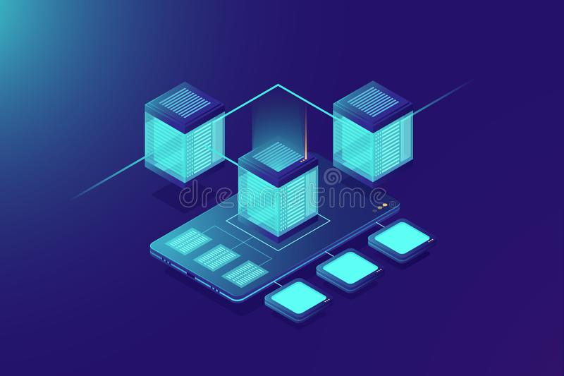 Cloudy storage server, mobile phone data upload, server room rack, protocol data center, data sturcture backup copy. Concept, neon dark gradient background stock illustration