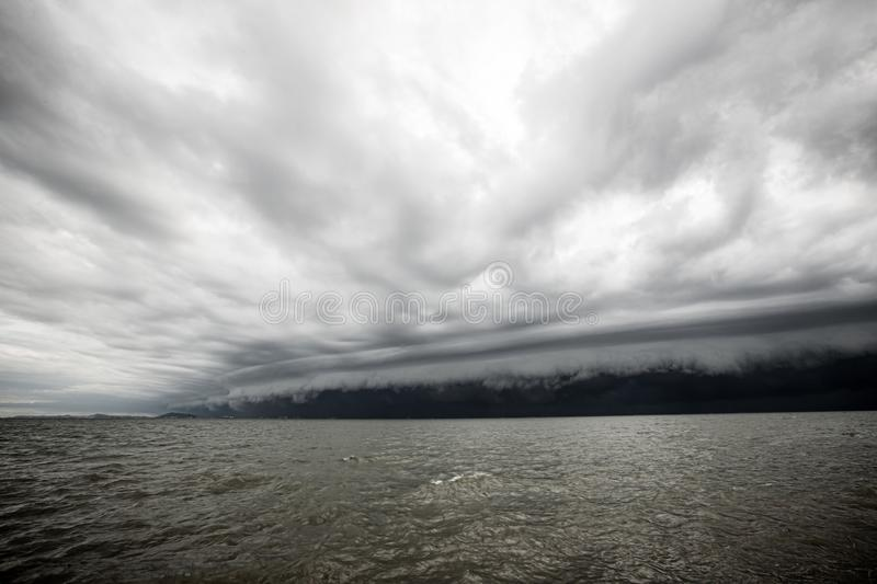 Cloudy storm in the sea before the rain. stock photos