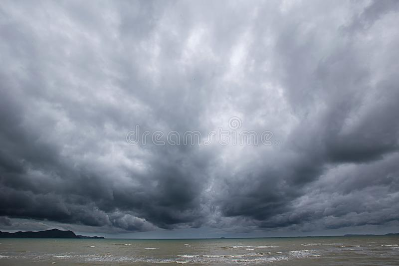 Cloudy storm in the sea before rainy. stock images