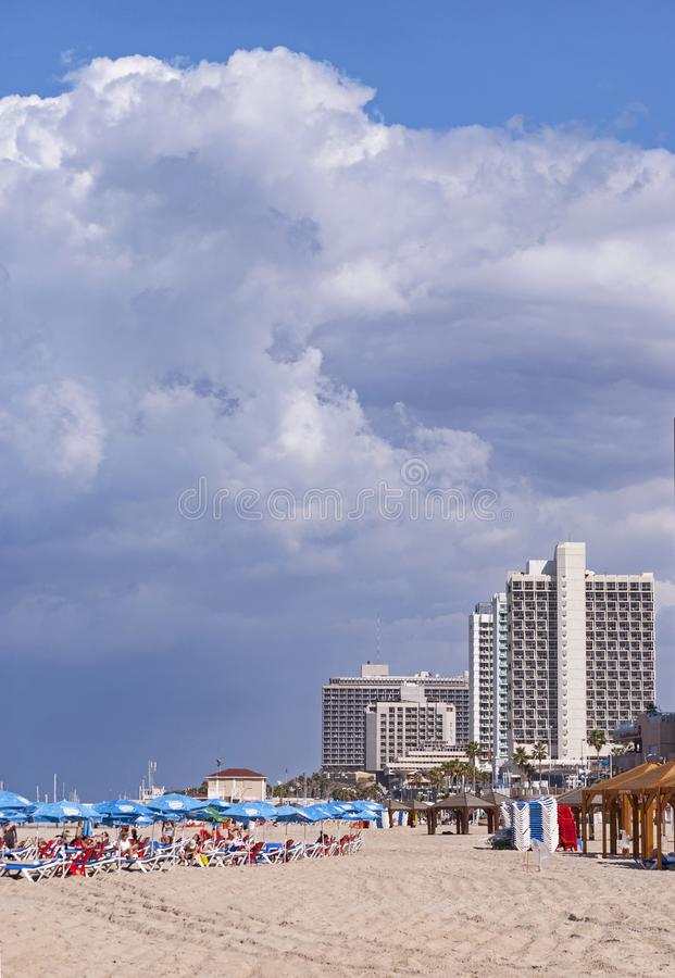 Cloudy Stormy Day on Tel Aviv Beach in Israel stock photography