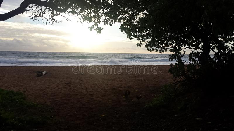 Cloudy Sunrise at the beach stock photography