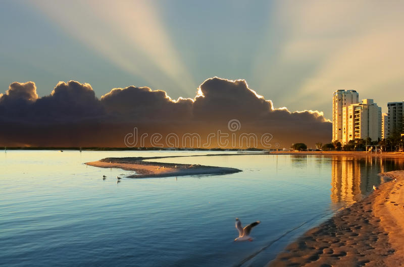 Cloudy Sunrise Over Bay Royalty Free Stock Photos