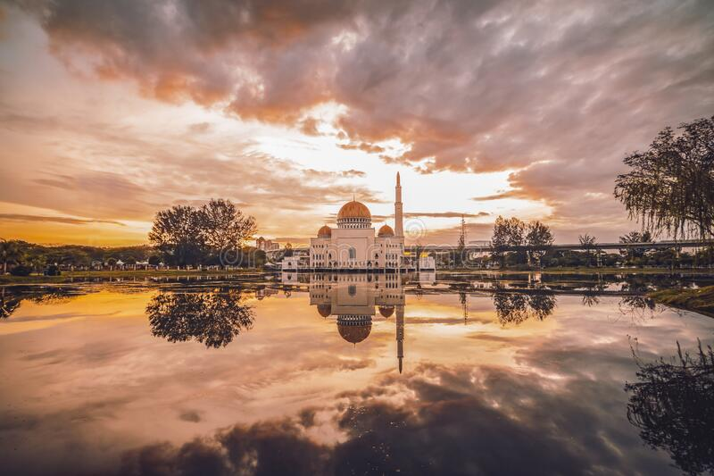 Cloudy Sunset at As Salam Mosque in Puchong, Malaysia. Puchong, Malaysia - July 11, 2020 : Cloudy Sunset at As Salam Mosque in Puchong, Malaysia stock photography