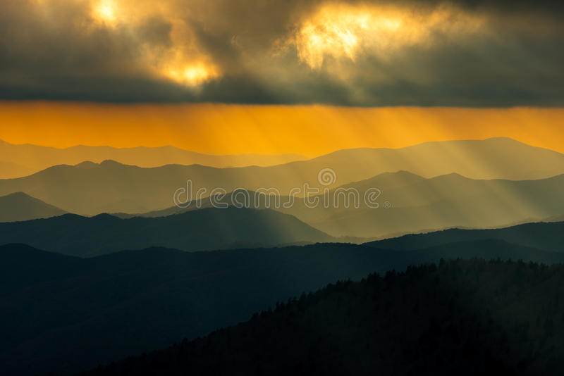 Sunset Great Smoky Mountain National Park. Cloudy Golden Cloudy sunset Clingman Dome Great Smoky Mountain National Park hazy sunrays royalty free stock images