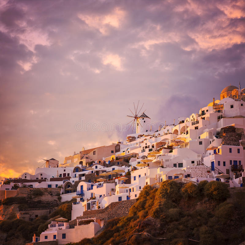 Cloudy sunset in Oia royalty free stock photo