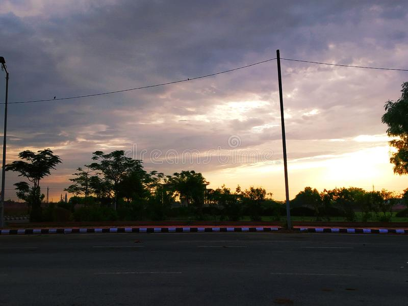 Cloudy sunset pic stock image