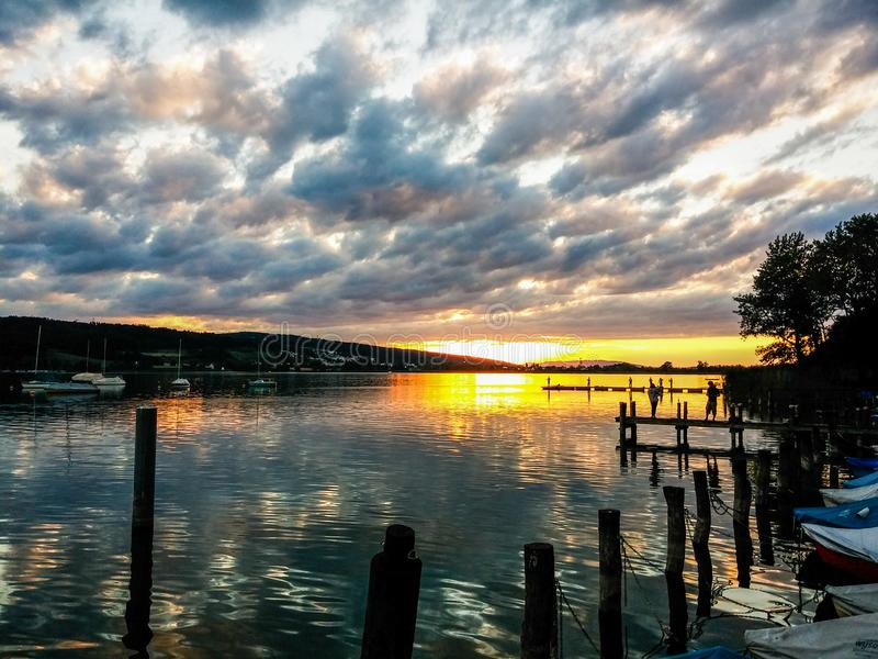 Cloudy Sunset, Zurich lake royalty free stock images