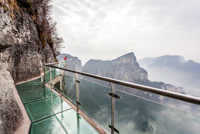 Cloudy Tian Men Mountains in Zhangjiajie,glass walk way royalty free stock photo