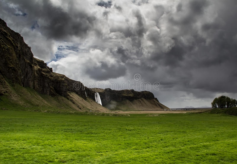 Cloudy waterfall royalty free stock image
