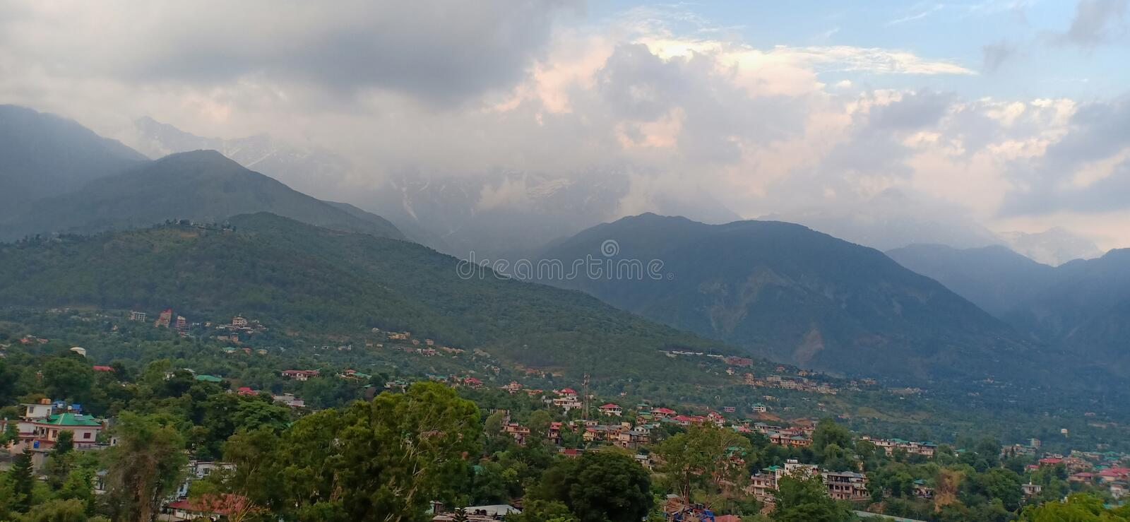 Cloudy weather. Beautiful cloudy weather dharamshala Himachal Pradesh stock images