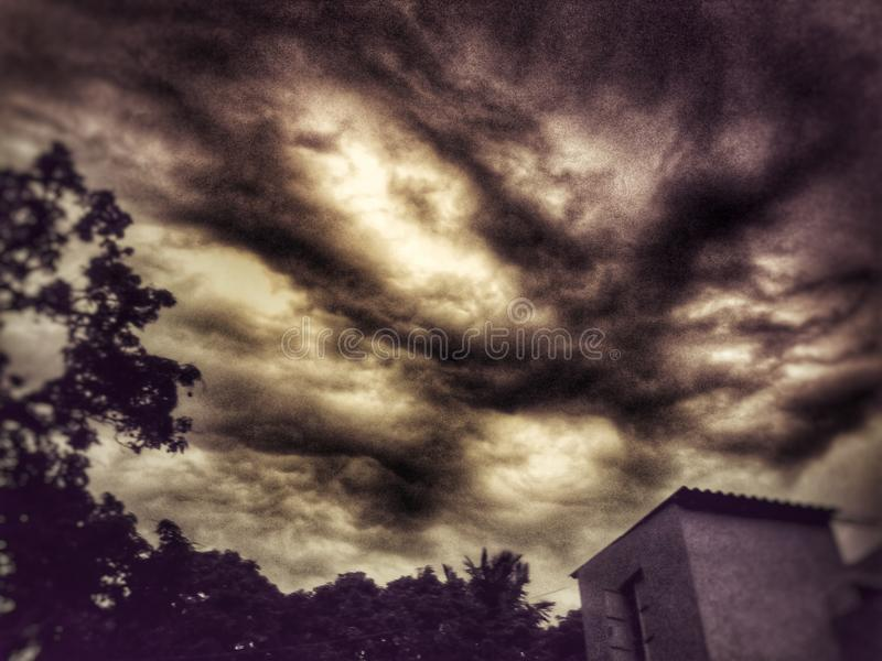 Cloudy Weather. Best Cloudy weather of village to Afternoon stock photos