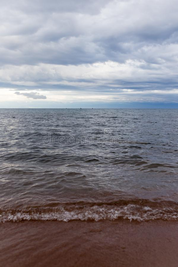 Cloudy weather on the sea as background royalty free stock images