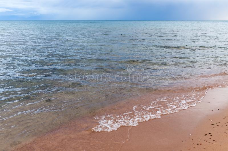 Cloudy weather on the sea as background stock photo