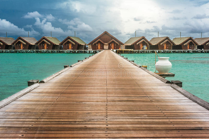 Cloudy weather on tropical island royalty free stock photo