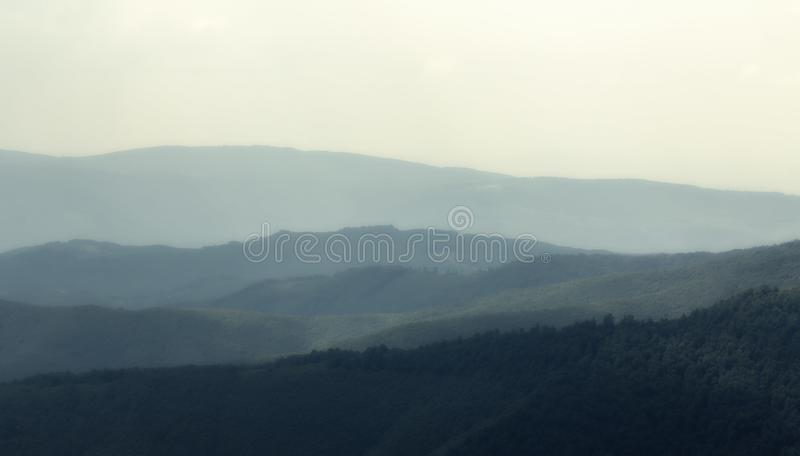 Cloudy weather in the Ukrainian Carpathians, fog rises from the forest.  stock images