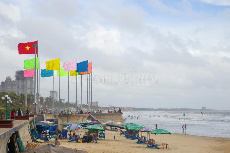 A cloudy windy day at the central city beach. Vietnam, Vung Tau royalty free stock photo
