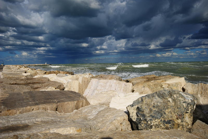 Download Cloudy And Windy Day Over The Dock Stock Photo - Image: 21507886
