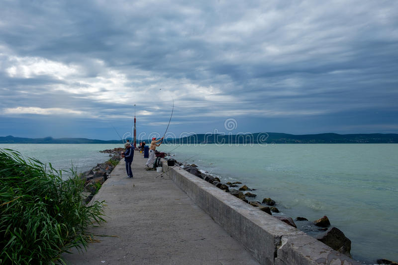 Cloudy, windy weather in the summer season stock photos