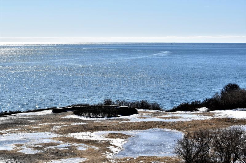 Two Lights State Park and surrounding ocean view on Cape Elizabeth, Cumberland County, Maine, ME, United States, US, New England. Cloudy winter landscape view of stock photography