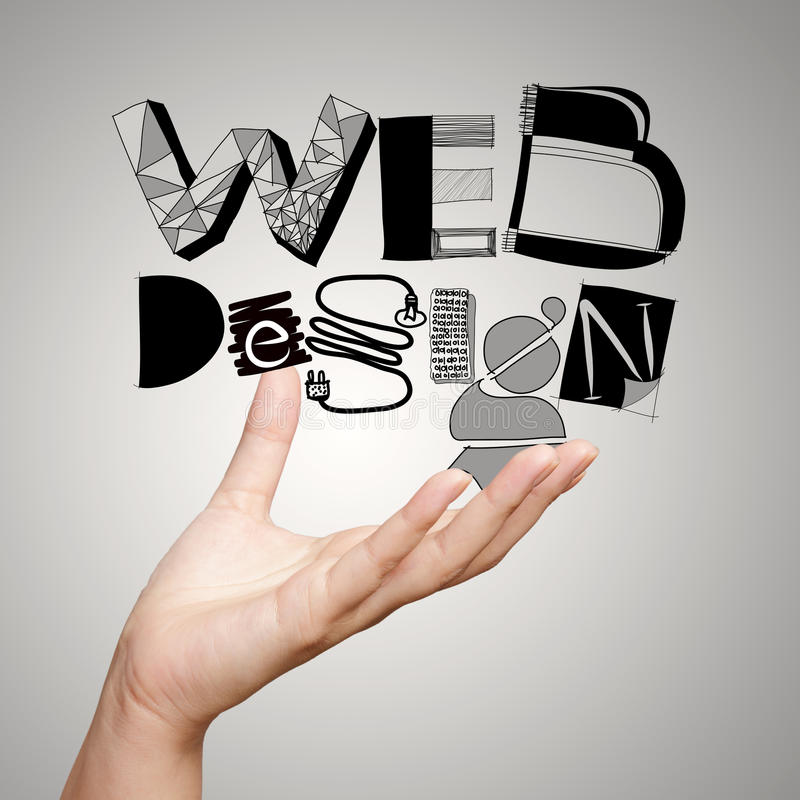 Clouse para arriba de la palabra DISEÑO WEB del diseño de la demostración de la mano imagen de archivo