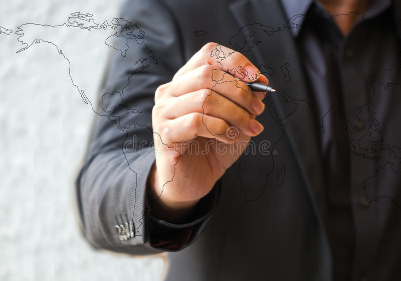 Clouse ręki biznesowego mężczyzna up rysunkowy świat obrazy stock