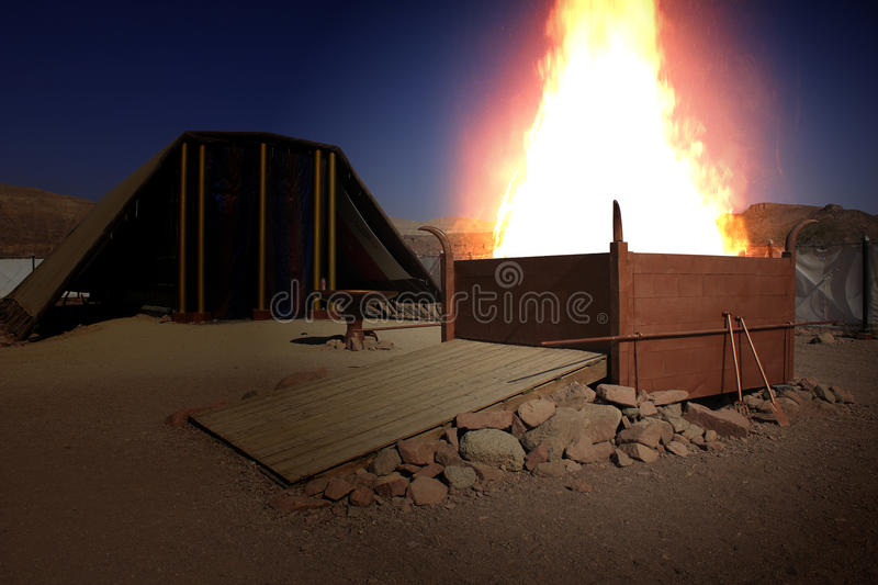 Clouse-Up on Burning Altar of Sacrifices. The Mystical Burning Altar of Sacrifices in the Tabernacle at Timna, Holy Land, Israel royalty free stock photography