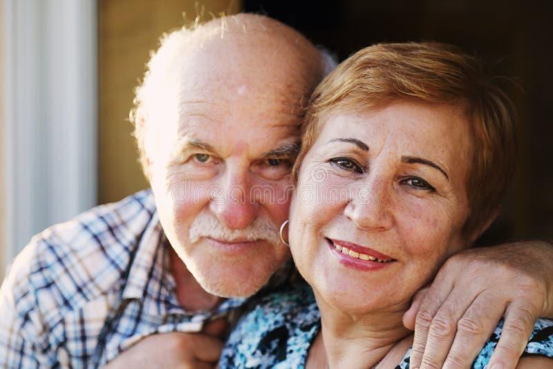 Clouseup portrait of senior couple stock photo