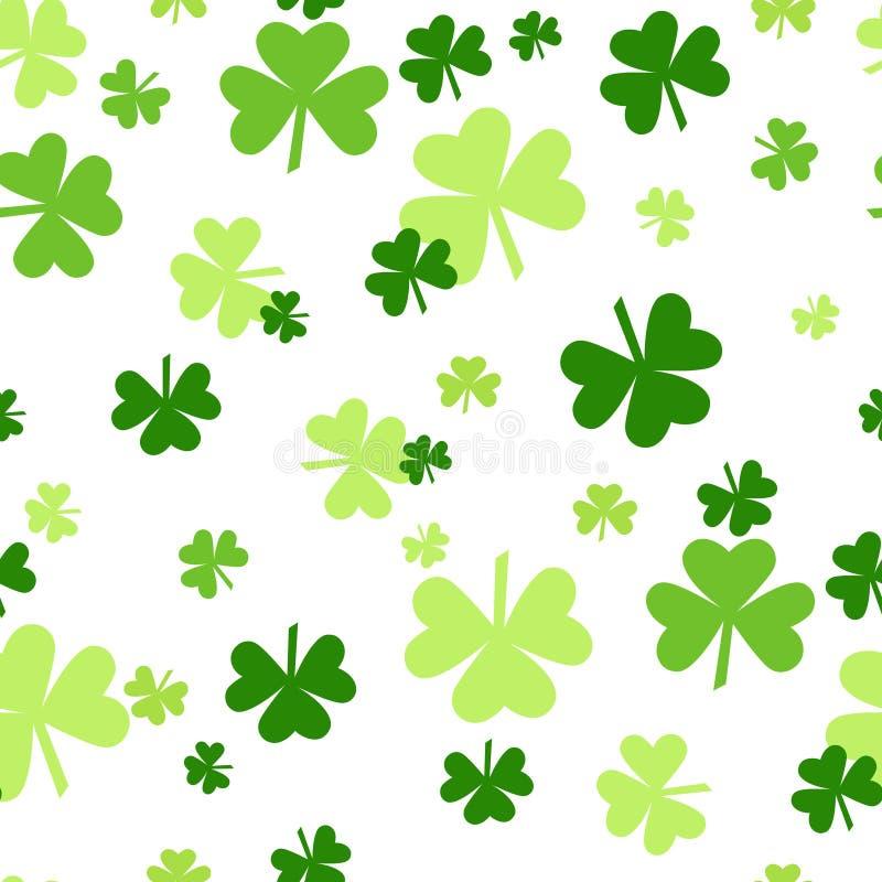 Clover Background, Saint Patrick Day Pattern, Green Shamrock Seamless Tile royalty free illustration