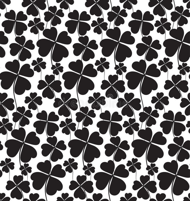 Clover black and white seamless pattern vector illustration
