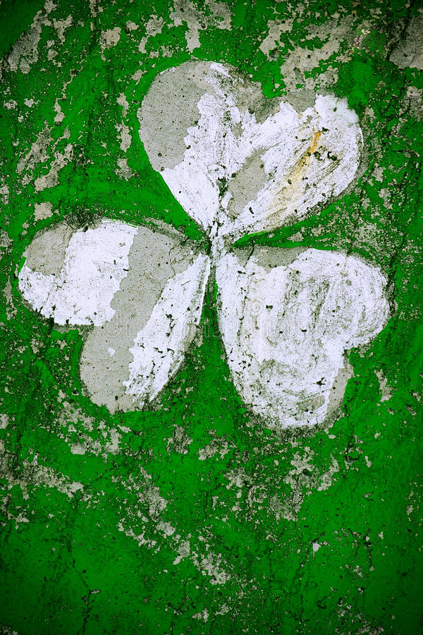 Clover Drawing. Clover painted in a wall representing Irish celebration St Patrick stock illustration