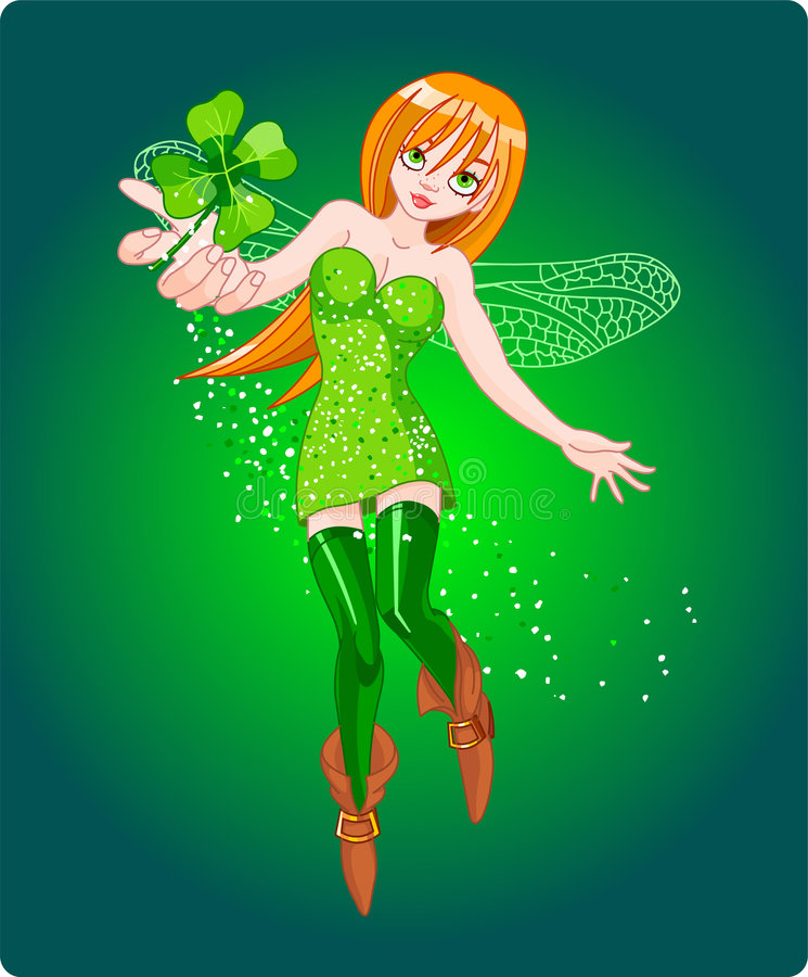 Clover fairy. Beautiful fairy flying, holding clover leaf. Vector royalty free illustration