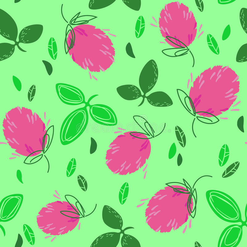 Clover flowers on the lawn. Flowers and clover leaves on a gentle green background. Illustration for seamless pattern vector illustration