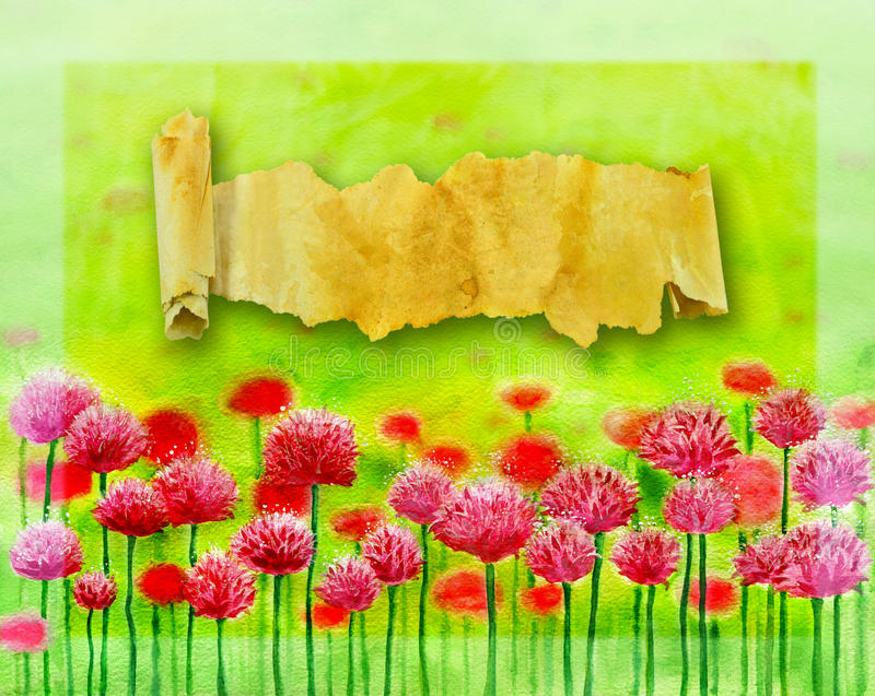 Clover flowers with scrolls royalty free illustration