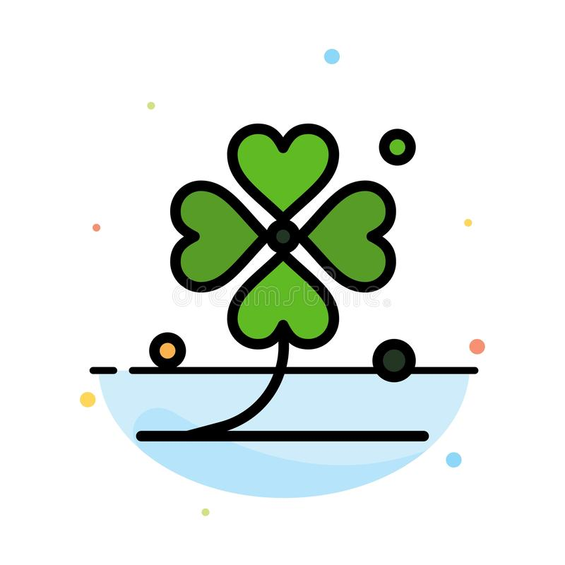 Clover, Four, Ireland, Irish, Lucky Abstract Flat Color Icon Template vector illustration