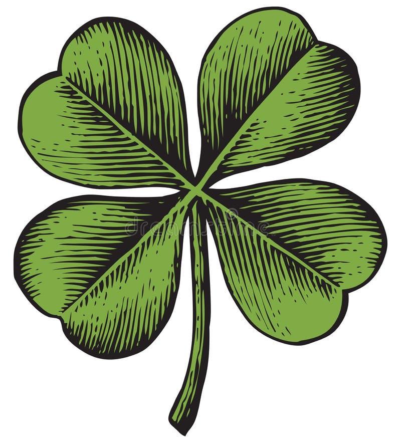 Clover with four leaf. Vintage engraved vector illustration royalty free illustration