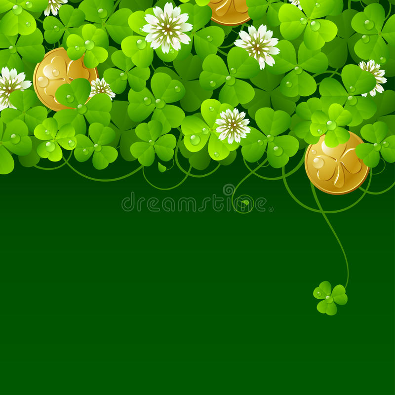 Free Clover Glade And Golden Coins 4 Stock Photography - 13249392
