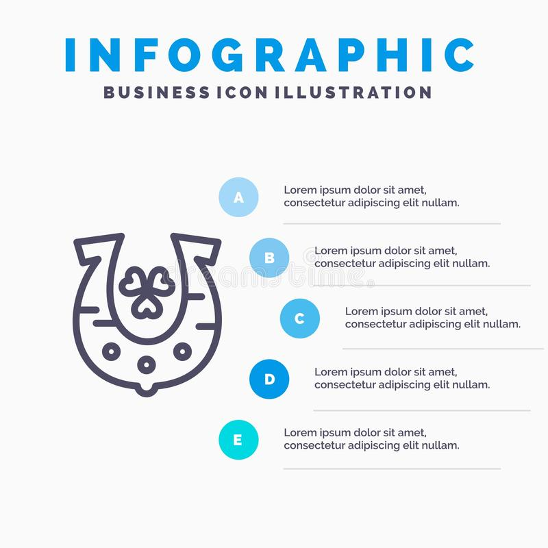 Clover, Golden, Horseshoe, Luck Line icon with 5 steps presentation infographics Background stock illustration