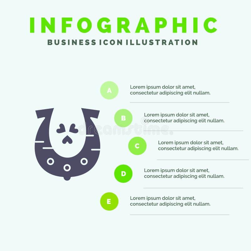 Clover, Golden, Horseshoe, Luck Solid Icon Infographics 5 Steps Presentation Background stock illustration