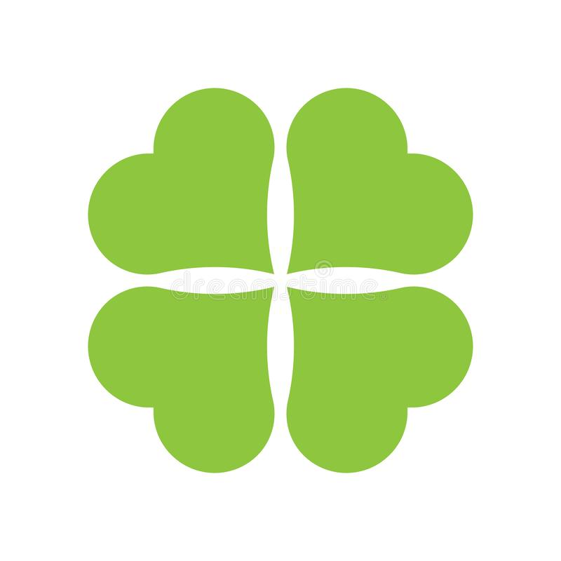 Four leaf clover icon. Green icon isolated on white background. Simple icon. Web site page and mobile app design stock illustration