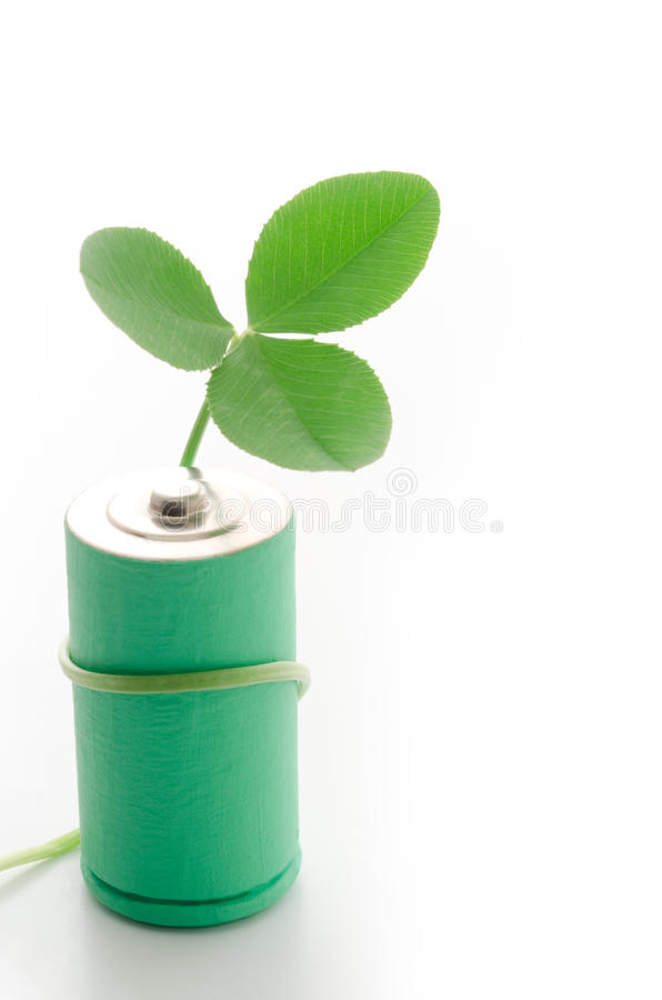 Download Clover Leaf Coiled With Battery Stock Image - Image: 25958551