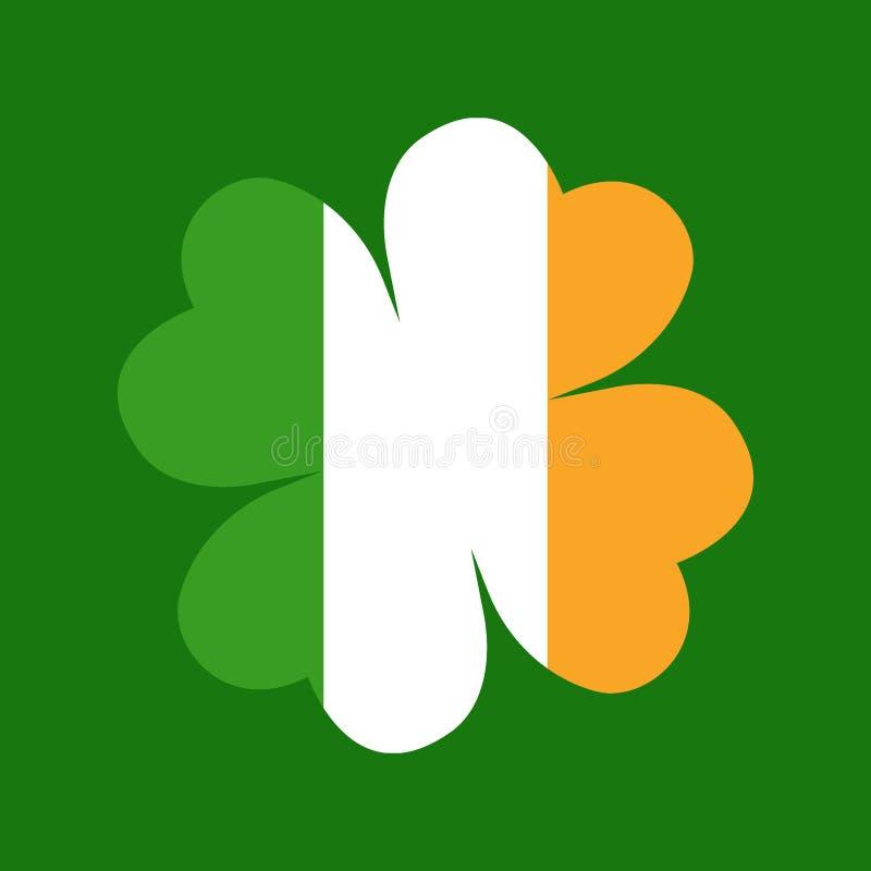 Clover leaf on flag element background for happy St. Patricks Day - Vector. Clover leaf on flag element background for happy St. Patricks Day royalty free illustration