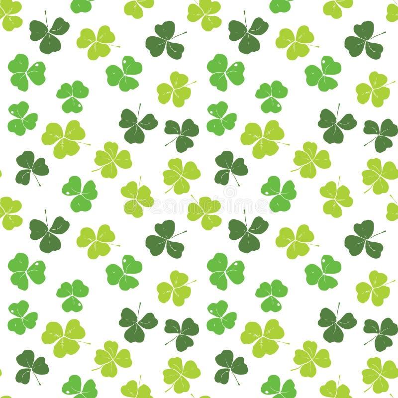 Clover leaf hand drawn doodle seamless pattern vector illustration. St Patricks Day symbol, Irish lucky shamrock background.  vector illustration