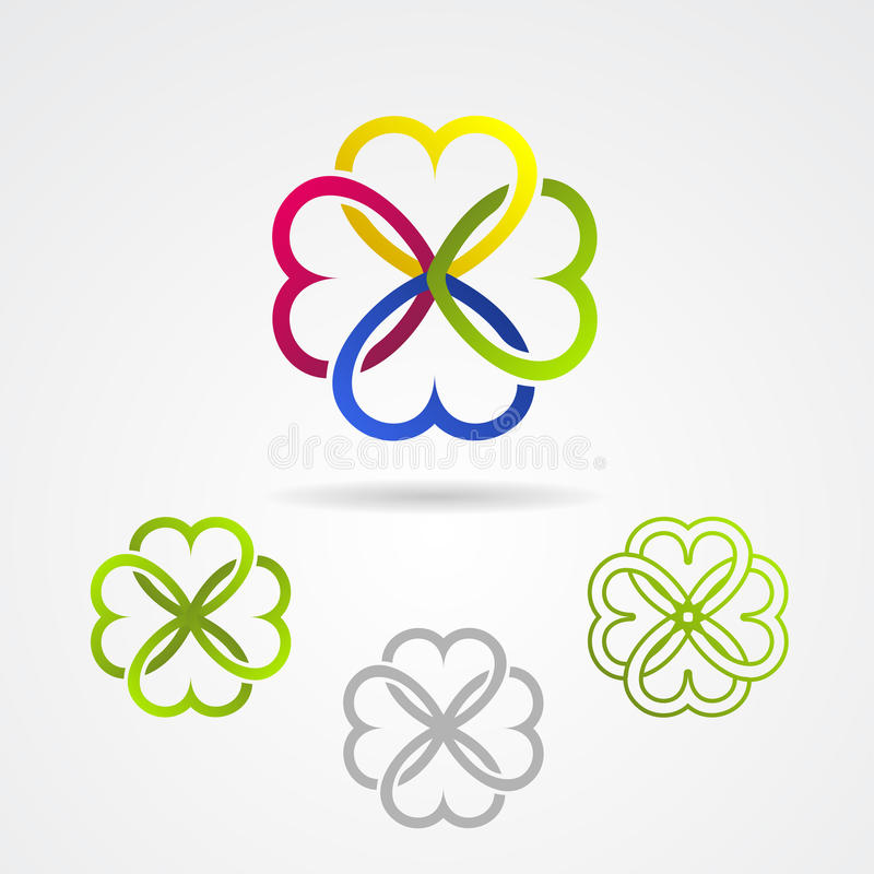 Clover leaf vector icon set vector illustration